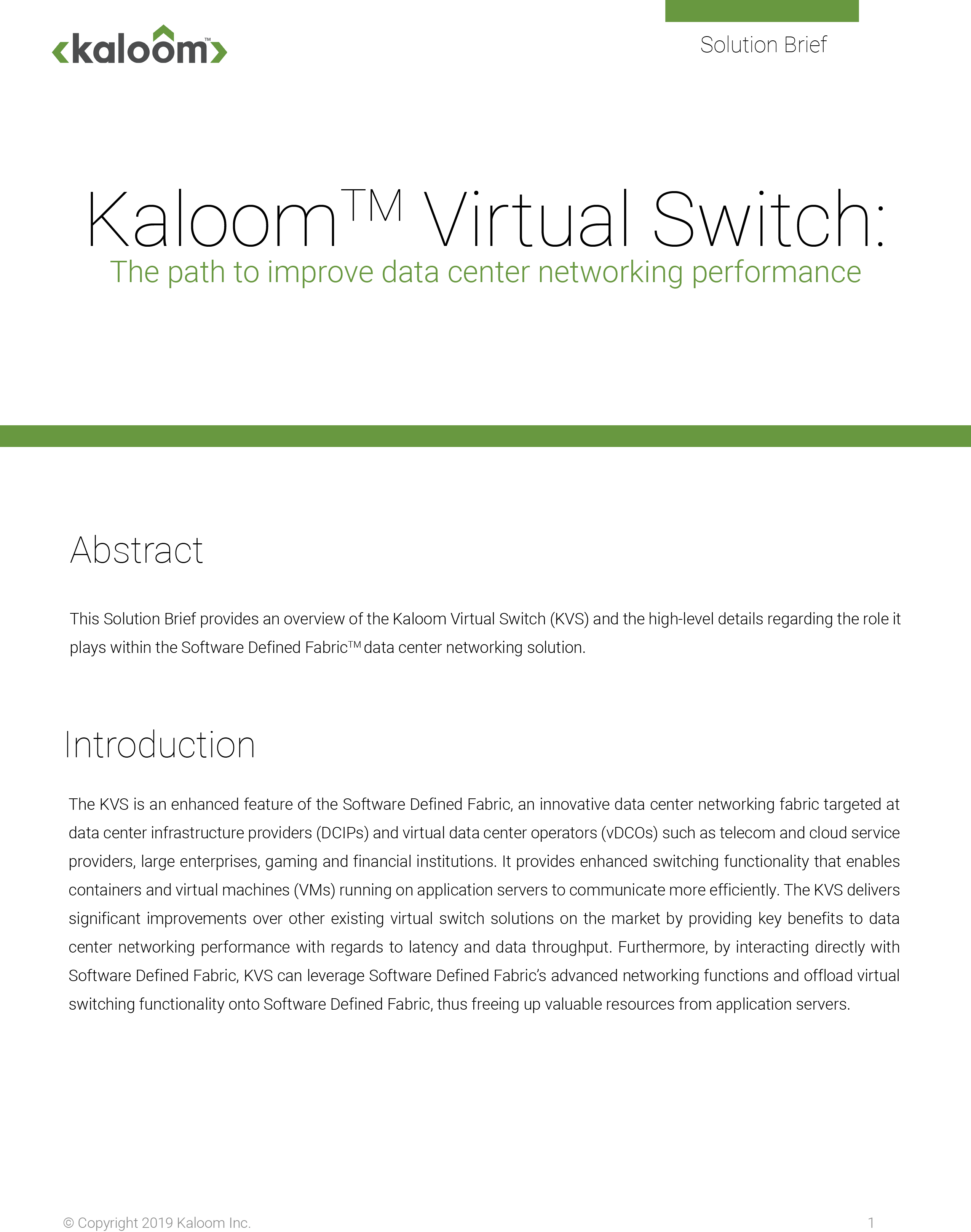 Featured Document - Kaloom Virtual Switch v1.2